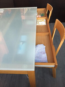 Forsted Glass Dining table with 4 chairs with leather seats
