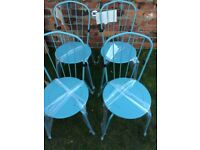 4 x garden - dining metal chairs duck egg