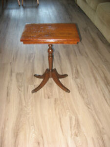 Vintage Pedestal Claw Foot Side Table