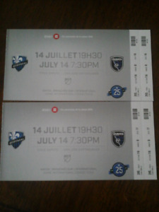 Billets (2) soccer impact contre earthquakes 14/07/2018