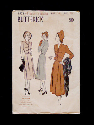 1940's Vintage BUTTERICK #4273 BASQUE BODICE Fashion DRESS PATTERN Sz16 Bust 34