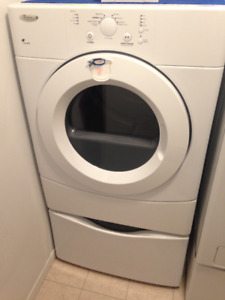 DRYER WITH PEDESTAL.  WHIRLPOOL
