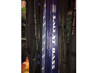 Selection sea fishing rods boat and shore