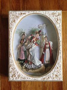 Vintage 3 Dimensional Layered Paper Framed Art in Shadow Box