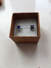 Pure blue sapphire earrings with white gold