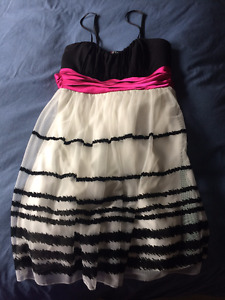 Black and White with Pink Bow Prom/Grad Dress - $15