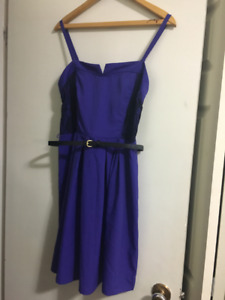 Kismet blue-purple dress with black lace side details, brand new