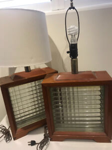 Retro wood and glass brick lamps