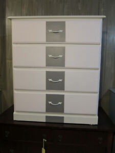 Wood 4 Drawer Dresser - White with Soft Pink & Gray Fronts