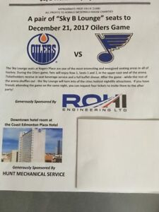 Oiler Tickets ( SKY B Lounge) & Hotel Room