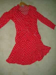 Joseph Ribkoff Red polka dot skirt and wrap top, Like New!