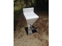 Great quality white leather ? Chrome stool very heavy with foot rest kitchen, conservatory etc