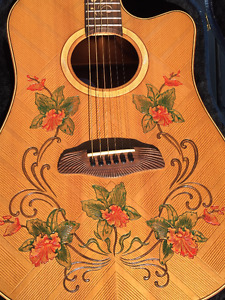 Custom Carved & Hand painted Dreadnought Blueberry Guitar