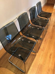 ikea 4 Tobias gray grey transparent chair chairs ONLY