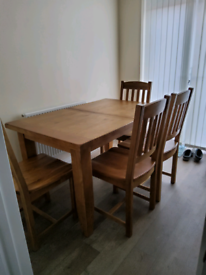 Solid Hardwood Oak Extendable Dining Table and 4 Chairs