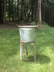 Galvanized Pot Planter or Beverage Tub with base - Patio