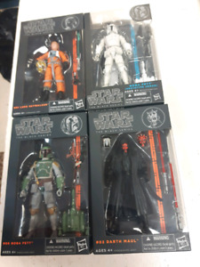 "Star Wars Black Series 6"" Darth Maul, Boba Fett, Luke X-Wing"