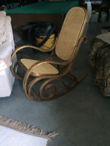 Comfortable Wood & Bamboo Rocker in Good Condition
