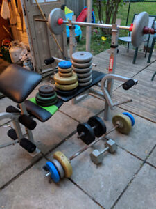Sturdy weight bench with weights