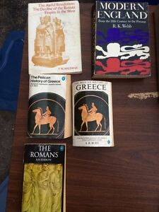 History books: Greek, Roman, Eng, CDN, USA