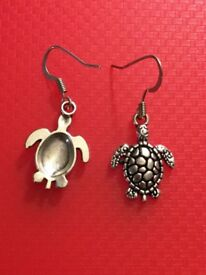 Hypoallergenic Silver Turtle Earrings Set, locally made to Edinburgh. £6.90