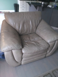 All leather couch and chair
