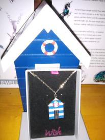 Enamel painter blue beach hut necklace