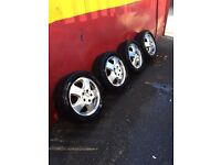 Mercedes alloys with good tyres, selling car 195 50 15 or near offer + 2 steel wheels FREE