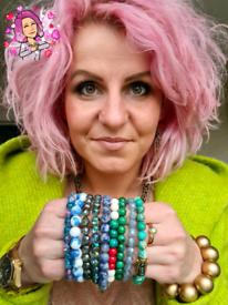 Stretch Swarovski Pearls/ Glass / Gemstone bracelets with Pink Rose