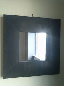 Distressed rustic metal (zinc) mirror. 16x16 inch.