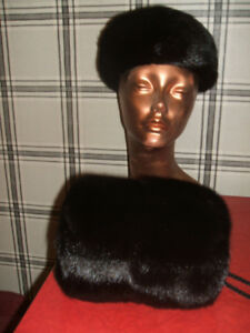 REAL BLACK MINK FUR MUFF  AND  MATCHING HAT