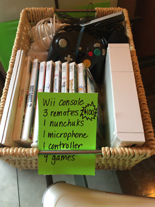 Wii & Wii Fit with remotes and games