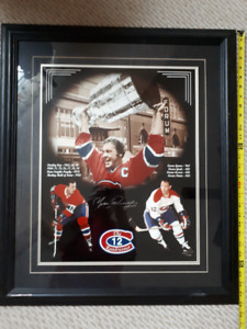 Yvon Cournoyer Montreal Canadiens signed framed NHL print COA