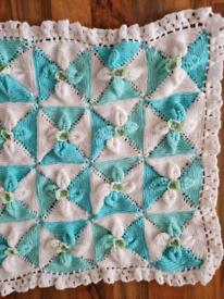 Mint green pram blanket handmade