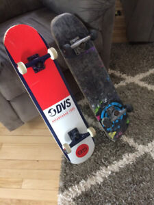 two skateboards one new condition and one used. both $100 O.B.O