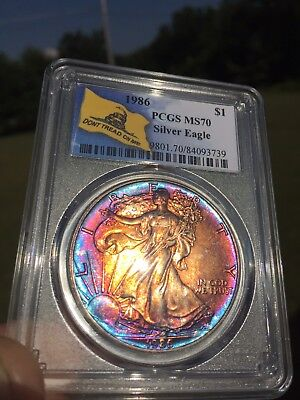 Click now to see the BUY IT NOW Price! PCGS MS70 1986 AMERICAN SILVER EAGLE MONSTER TONING