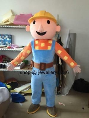 Bob The Builder Costume (Bob The Builder Costume Party Dress Clothing Parade Suit Adult Mascot)