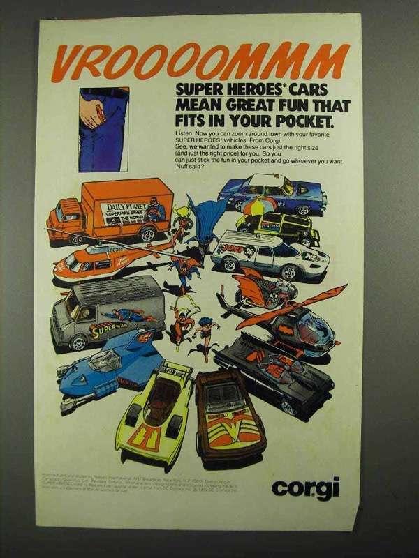 1979 Corgi Super Heroes Cars Ad - Great Fun That Fits