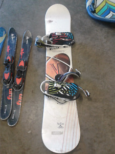 snow board and short ski