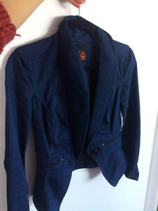 Guess Jeans Blue Long Sleeve Vest Chic Fashion Work Classy Small