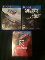 Need for speed rivals, Call Of Duty Ghosts and Driveclub For PS4
