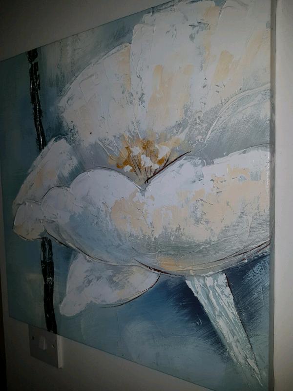 *sold* Textured Flower canvas, blue white metallic | in Southside, Glasgow  | Gumtree