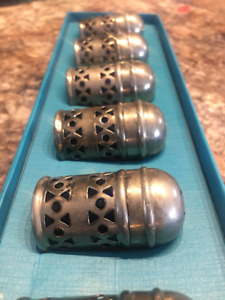 Antique Birks Silver Plated Blue Cobalt Glass Salt Shakers