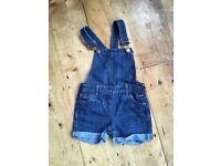 John Lewis girls dungaree shorts - age 4 years