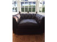 Alexander & James leather chesterfield armchair / snuggler .