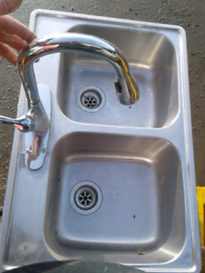 Stainless kitchen sink and faucet