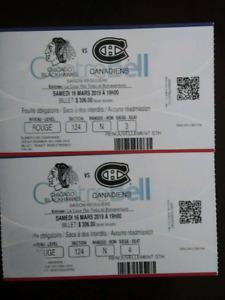 2 billets Match Canadiens 16 mars