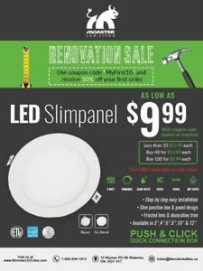 "4"" Led Slim Panel/Pot Light SALE ..WHILE QUANTITIES LAST.....$10.00• Online ordering only !!"
