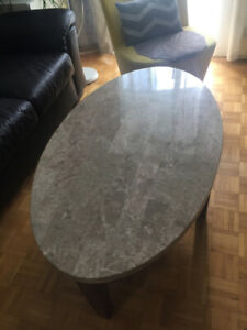 Coffee table with marble top