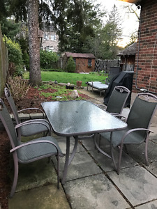Aluminum Patio Set Glass Table and 4 light weight chairs